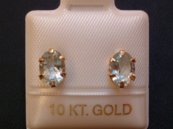 TOP Aquamarin Ohrstecker - 1,36 ct. - 10 Kt Gold - 417 - Ohrringe - Oval Schliff