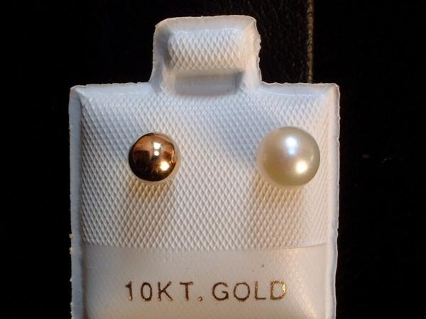 Two in One - Perlen & Goldkugel - Ohrstecker - weiß - 10 Kt. Gold - 417 -