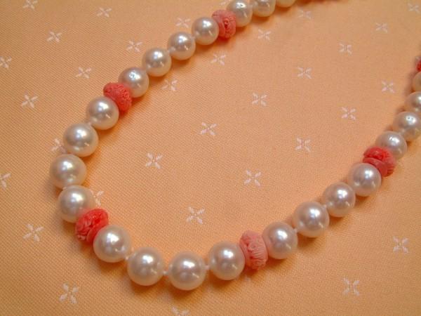 Exclusive Perlen & Korallen Kette - geknotet - 45 cm - Sterling Silber - 925 -