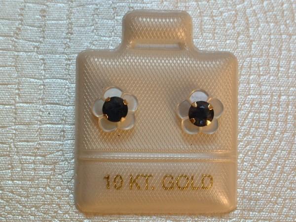 Saphir Blüten Ohrstecker - 0,66 ct.- 10 Kt. Gold - 417 - Ohrringe - Brillant Cut