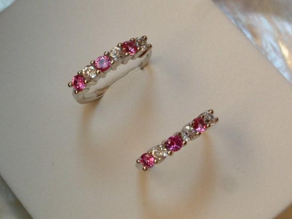 Cr. rosa Saphir & Zirkonia Creolen - Sterling Silber 925 - Ohrringe Brillant Cut