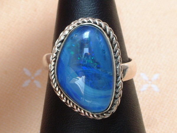 Exclusiver Opal Ring 22 x 16 mm - tolle Farben - Sterling Silber 925 - variabel