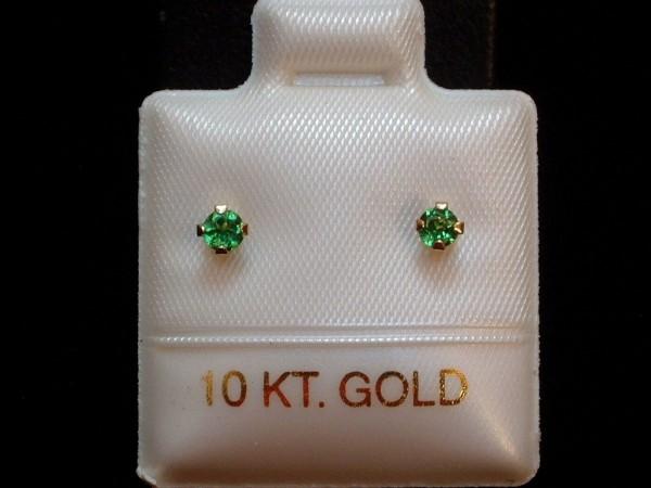 Feinste Tsavorit Ohrstecker - 2,5 mm - 10 Kt Gold 417 - Ohrringe Brillantschliff