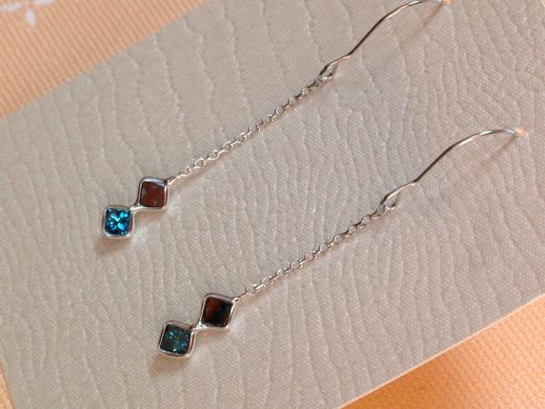 Blaue Diamant Creolen - 0,60 ct. - 14 Kt. Weißgold - 585 - Carré Schliff - TOP