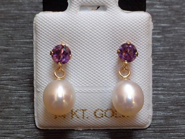 Exclusive Amethyst & Perlen Ohrstecker - 14 Kt. Gold - 585 - Ohrringe - sehr edel !