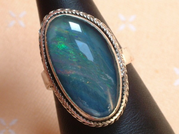 Exclusiver Opal Ring 27 x 17 mm - tolle Farben - Sterling Silber 925 - variabel E-Mail an FreundeAuf