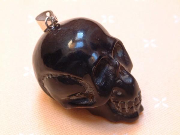 Gothic Skull Totenkopf Schädel Anhänger aus Wasserbüffelhorn - Oese in Sterling Silber - 925 -