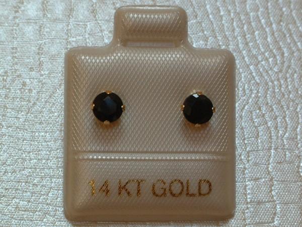 Exclusive Saphir Ohrstecker - 4 mm - 14 Kt. Gold - 585 - Ohrringe - Brillant Schliff
