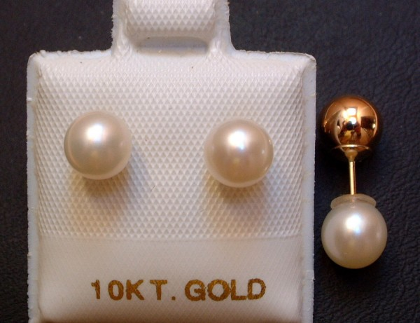 Two in One - Perlen & Goldkugel - 6 mm - Ohrstecker - weiß - 10 Kt. Gold - 417 -