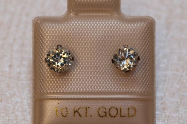 Aquamarin Ohrstecker - 5 mm - 10 Kt. Weißgold - 417 - Ohrringe Brillant Schliff