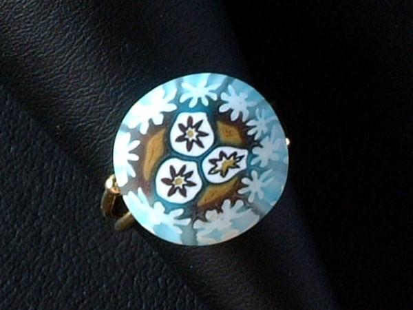 Venezianischer Millefiori Ring - Murano Glas - Sterling Silber 925 vg. - MOD 01 -