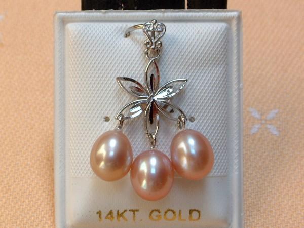 Exclusiver Perlen Anhänger - gefasst in 14 Kt. Weißgold - 585 - edel !