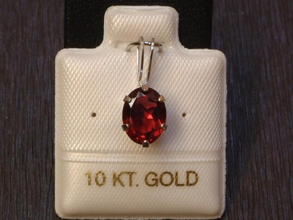 Exclusiver Granat Anhänger - 1,19 ct. - 10 Kt. Weiß Gold - 417 - Oval Schliff