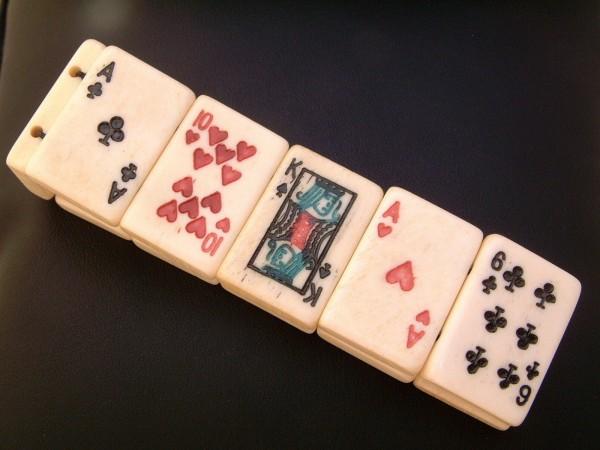 2 Stk. Poker & Black Jack Bracelet - cardplayer Armband - Bein - graviert & handbemalt !