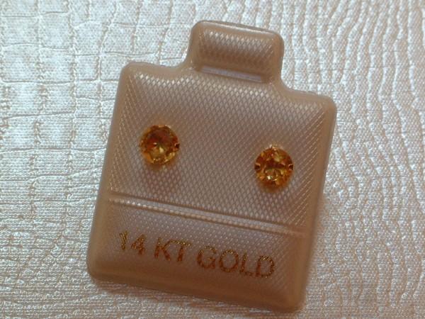 Exclusive Citrin Ohrstecker - 4 mm - 14 Kt. Gold - 585 - Ohrringe - Brillant Cut