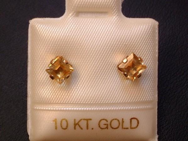 Feinste Citrin Ohrstecker - 4 x 4 mm - 10 Kt. Gold - 417 - Ohrringe in Carré Schliff