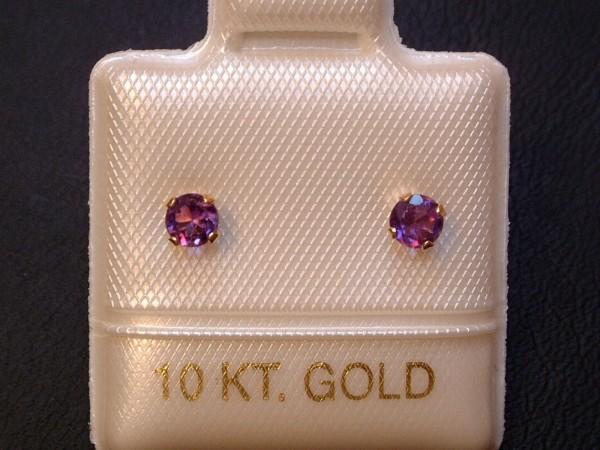 Feinste Amethyst Ohrstecker - 3 mm - 14 Kt. Gold - 585 - Ohrringe - Brillant Schliff