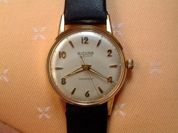 BIFORA Herren Armbanduhr - 17 Rubis - shockproof - 14 Kt. Gold 585 - second hand - EDEL