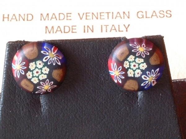 Venezianische Millefiori Ohrstecker - Murano Glas Ohrringe - Biancardi Venezia - Modell BMO4