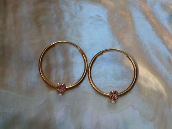 Feinste kleine rosa Turmalin Creolen - 13 mm - 14 Kt. Gold - 585 - Ohrringe TOP