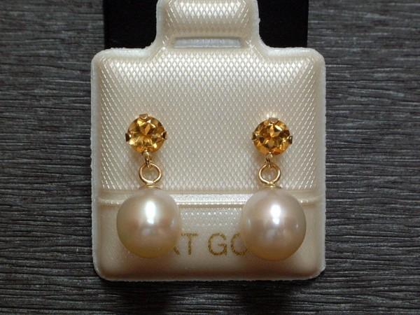 Exclusive Citrin & Perlen Ohrstecker - sonnengelb - 14 Kt. Gold - 585 - Ohrringe - sehr edel !