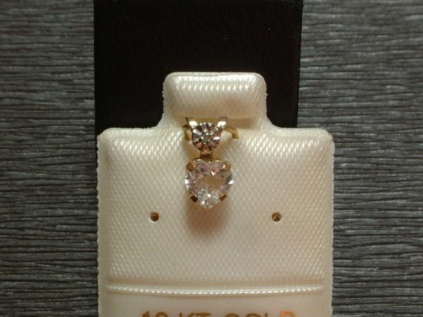 Feines Weißtopas Herz - 5 x 5 mm - mit Diamant Krone - 10 Kt. Gold - 417 - EDEL