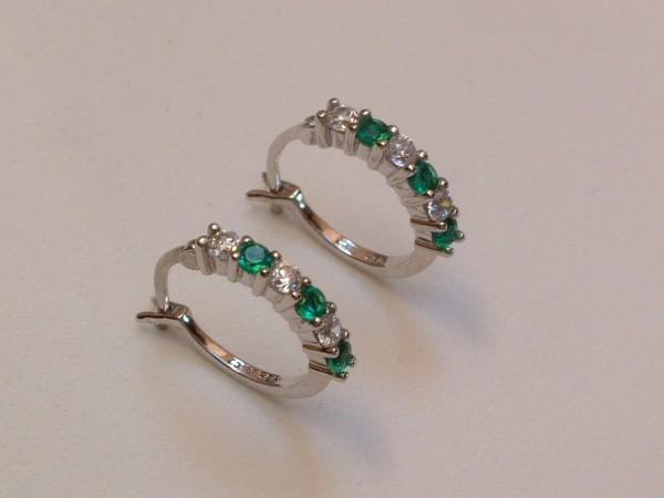 Sim. Smaragd & Zirkonia Creolen - Sterling Silber - 925 - Ohrringe Brillant Cut