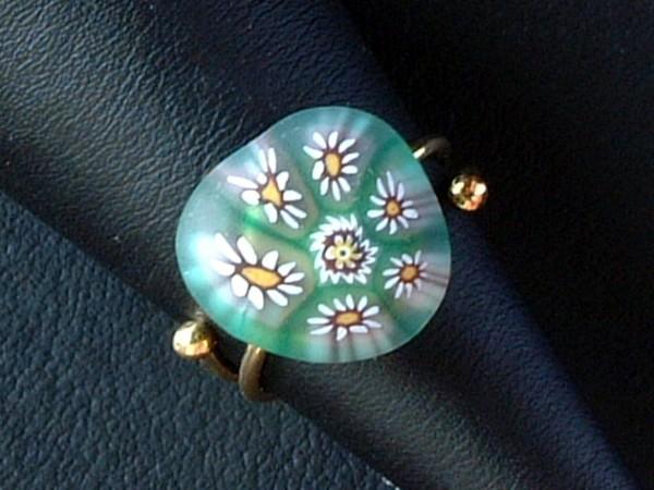 Venezianischer Millefiori Ring - Murano Glas - Sterling Silber 925 vg. - MOD 3 -