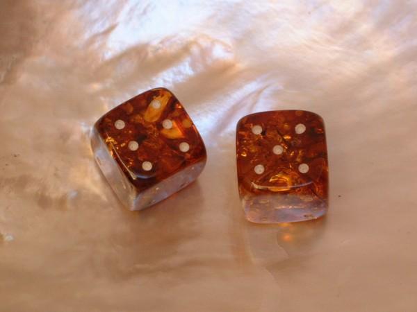 2 Bernstein Würfel - Backgammon - Tavla - Gesellschafts-Spiele - 14 x 14 mm - 29 ct.