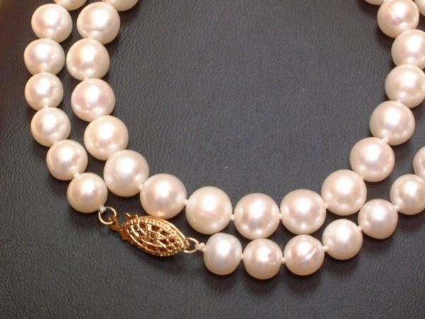 Elegante Perlen Kette - geknotet - 6,5 - 7,5 mm - 14/20 Gold filled - exclusiv - 42 cm