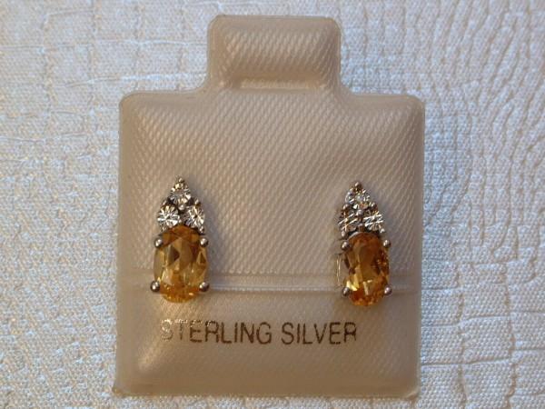 Citrin & Diamant Ohrstecker - 6 x 4 mm - Oval Schliff - Sterling Silber - 925 -