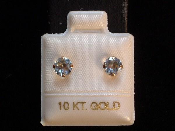 Exclusive Aquamarin Ohrstecker - 5 mm - 10 Kt. Gold 417 - Ohrringe Brillant Schliff