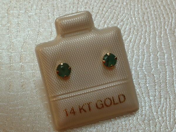 Exclusive Smaragd Ohrstecker - 4 mm - 14 Kt. Gold - 585 - Ohrringe Brillant Schliff