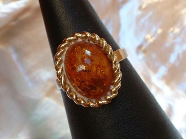 Edler Bernstein Ring - 8 Kt. Gold - 333 - Amber - second hand - Grösse 55 - EDEL